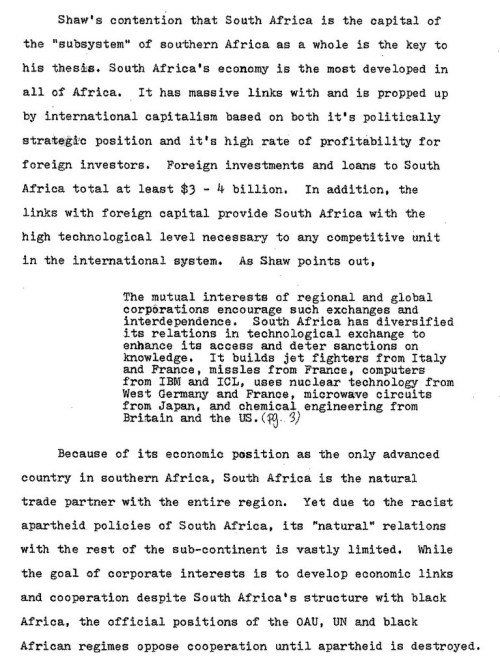 1977.10.XX -- Critique of Shaw's Political Economy of Technology in Southern Africa -- ML -- U.Cinti_Page_1-001