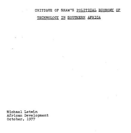 1977.10.XX -- Critique of Shaw's Political Economy of Technology in Southern Africa -- ML -- U.Cinti_Page_1