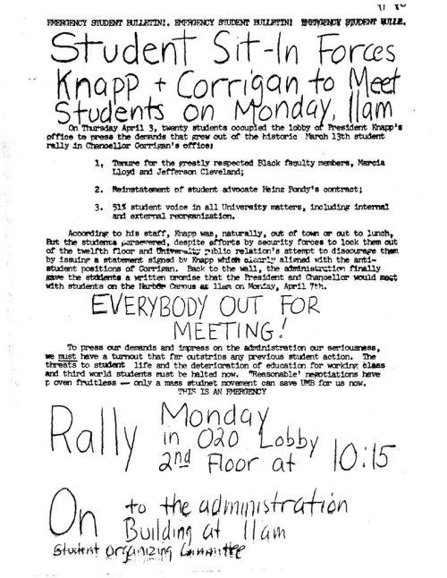 1980.04.00 -- Student Sit-In Forces Knapp and Corrigan to Meet -- ML flyer -- UMB